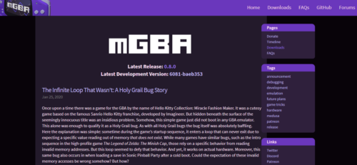 Official mGBA website