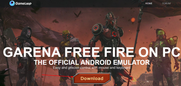 Download Garena Free Fire using Gameloop