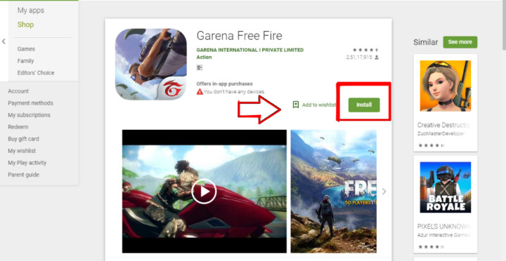 Installing Garena Free Fire from Play Store using Android Emulator