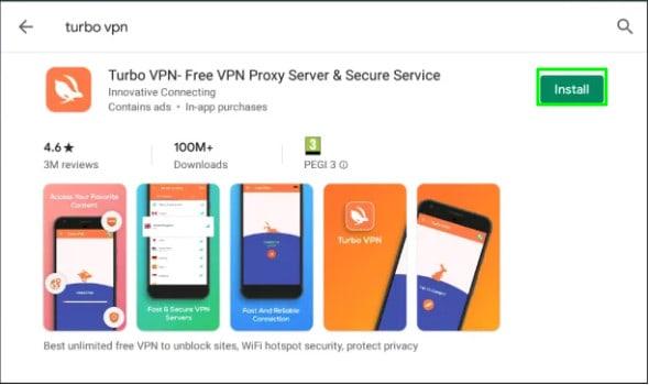 Installing Turbo VPN using Bluestacks