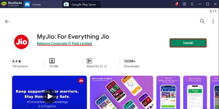 MyJio App downloaded on a PC using Bluestacks