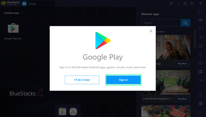 Sign in to Bluestacks to download Google Home App
